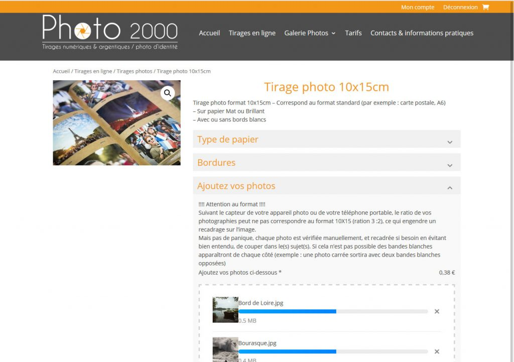 Commande de tirages photos sur le site e-commerce Photo 2000
