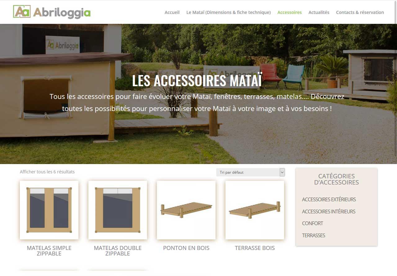 Exemple de la page accessoires pour le site internet Abriloggia