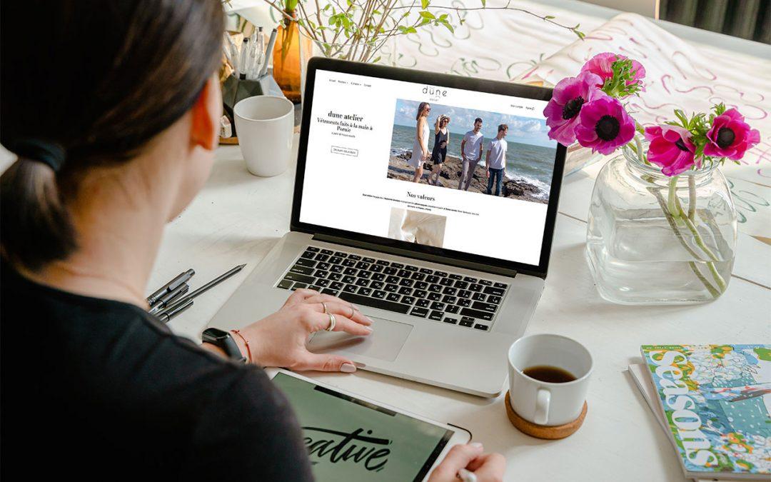 Création d'un site web e-commerce à Pornic pour Dune Atelier